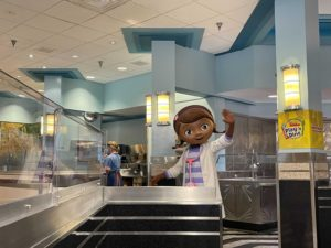 Doc McStuffins at a socially distant character meal