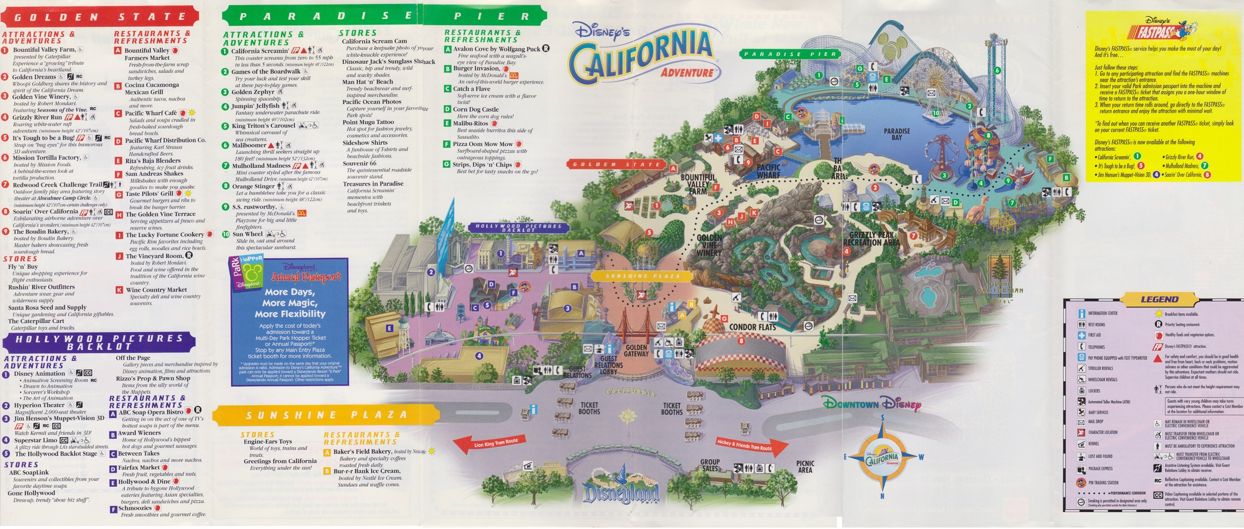 Map Of California Adventure Disney Ephemera: 2001 Disney's California Adventure Guide Map