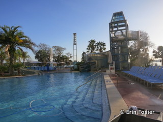 Early morning calm at the Bay Lake Towers pool.