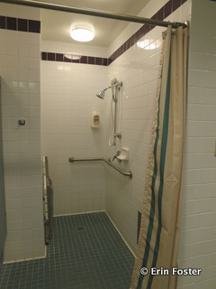 Shower in the ladies restroom near the pool at All Star Music.