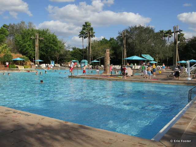 Coronado Springs Dig Site feature pool. Note the water fountain feature and the hula hoop contest on the pool deck.