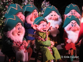 Some characters typically appear only in special circumstances. For example, you'll only get all the dwarfs during evening parties at the Magic Kingdom.