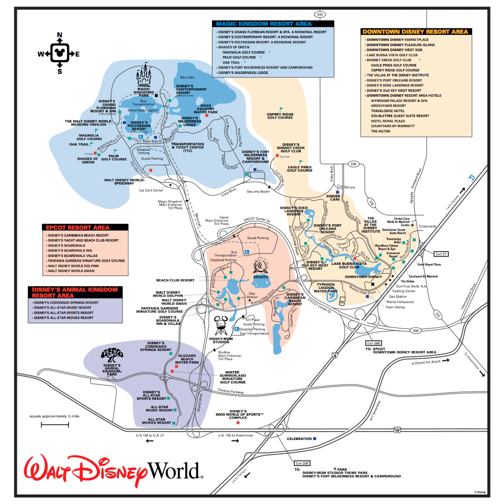 Get to Know the Disney World Transportation and Ticket Center (TTC Disney World Hotel Map on
