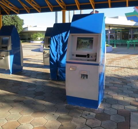 Ticket purchase kiosks.