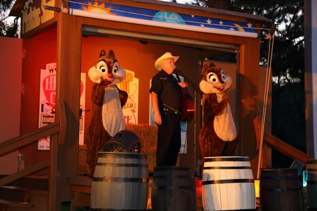 Stage with Chipmunks and Singing Cowboy