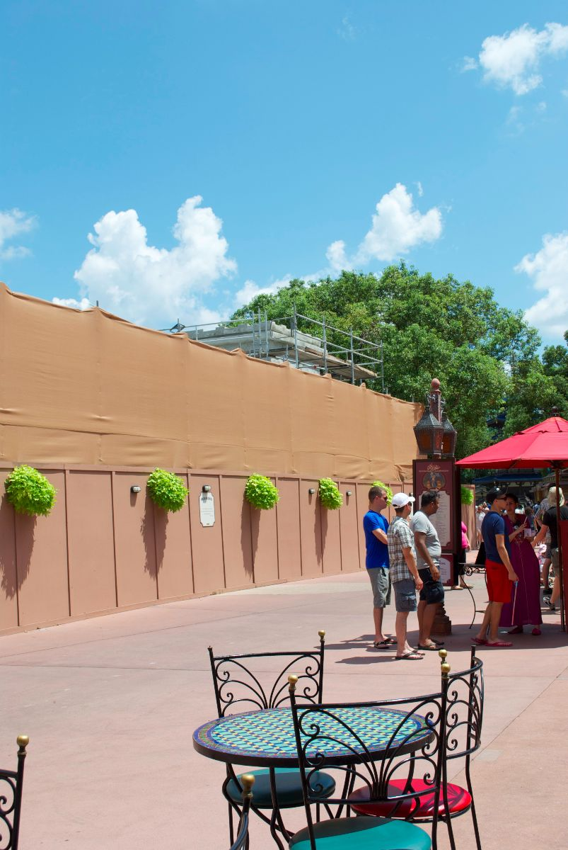 A new waterfront restaurant goes up behind walls at the Moroccan pavilion.