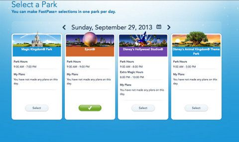 Currently, you can get FP+ reservations at one park per day.