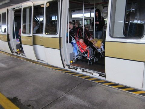 You can roll your stroller onto the monorail without folding it