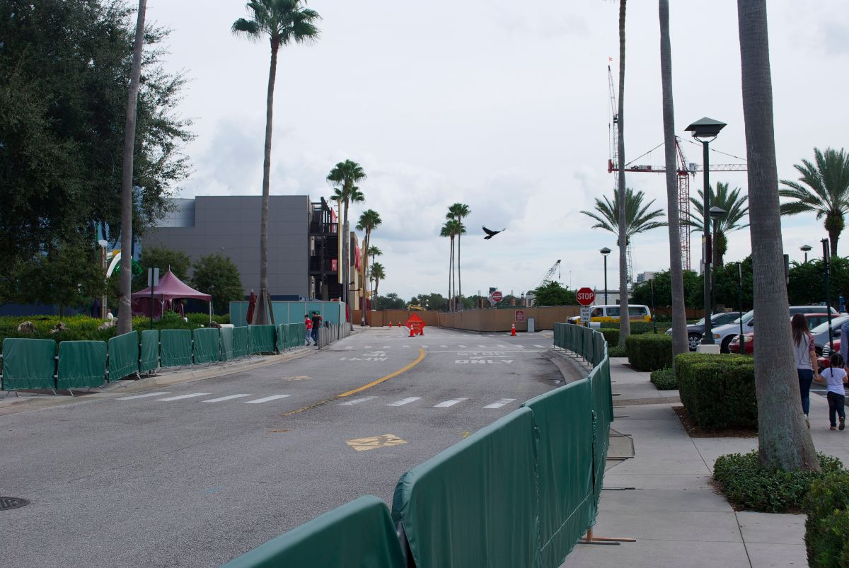 Downtown Disney parking lots are now a maze of construction walls and cones.