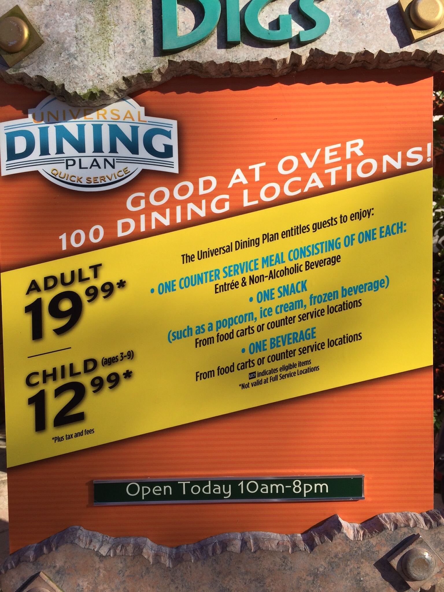 Universal Dining Plan price increase