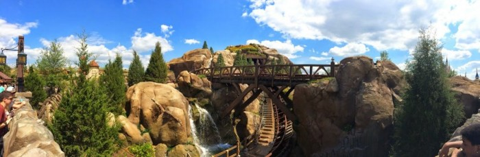 The Seven Dwarfs Mine Train as seen from the Be Our Guest queue in Fantasyland.