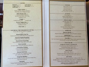 The menu at the Cove Cafe