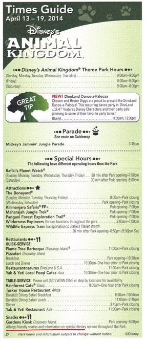 Sample Animal Kingdom Times Guide, front