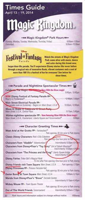 Sample Magic Kingdom Times Guide, front