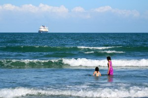 Jetty Park provides fun in the surf as well as great views of Disney's cruise ships.