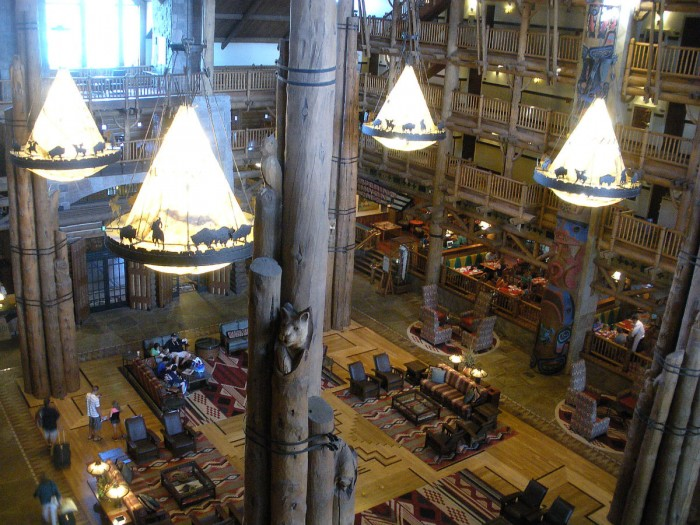 Club level view of Wilderness Lodge lobby.