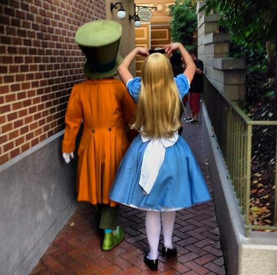 Alice in Wonderland and Mad Hatter at Disneyland