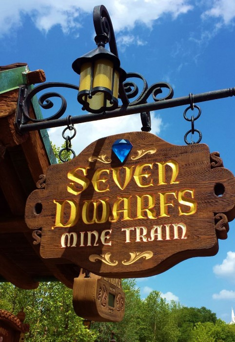 Seven Dwarfs Mine Train Sign. Photo by Katie McNair