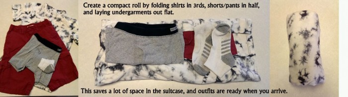 Packing outfits into compact rolls saves space. And creates a fun Tetris-like puzzle when fitting them all in the suitcase.