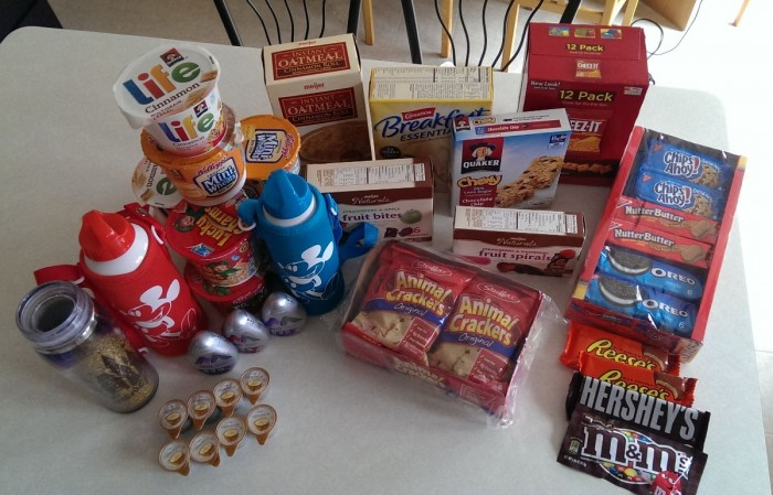 Breakfast and snacks for a week, with packaging (try not to judge the nutritional content - we're on vacation).