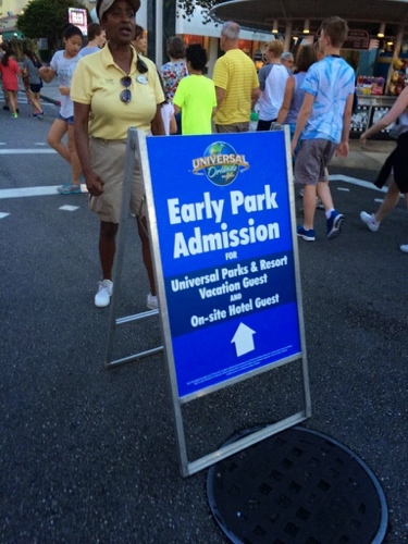 Early Park Admission Sign