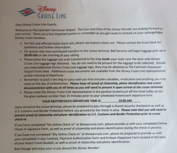 Disney Cruise Line transfer instructions