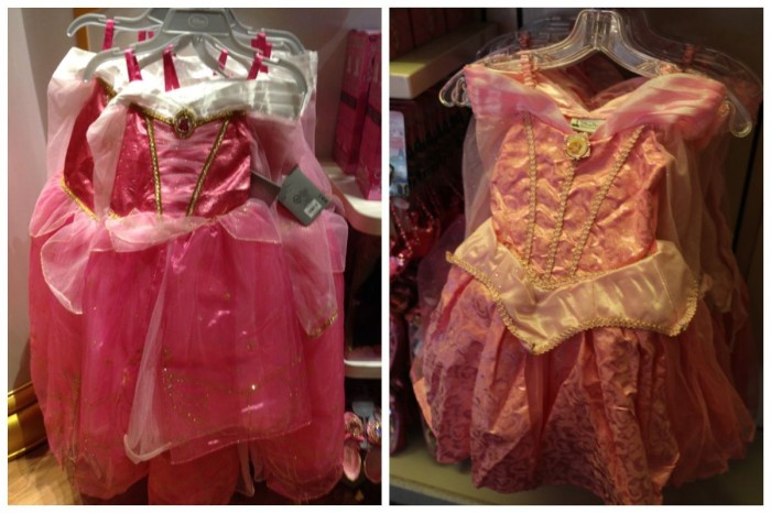 Sleeping Beauty Gowns, fall 2014. Disney Store (left), Disney Parks (right)