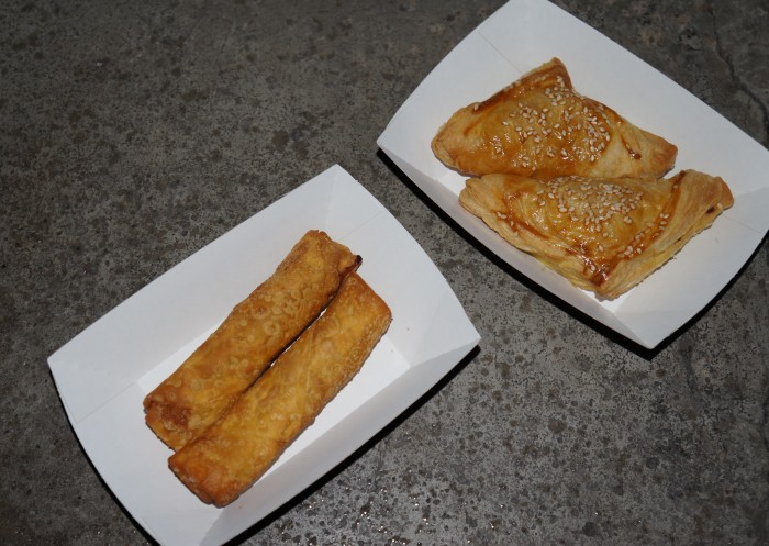 pork egg rolls and chicken curry pockets