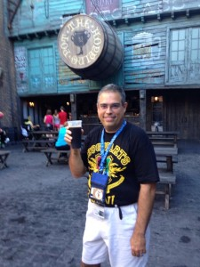 The author samples some liquid cereal in a nearly empty Diagon Alley