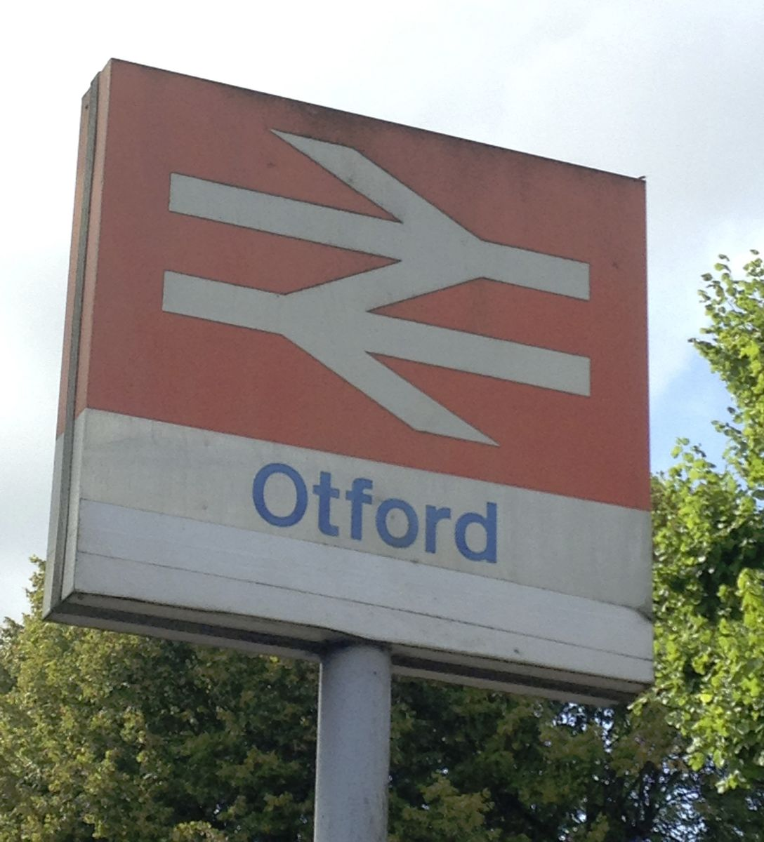 Standard British UK Rail sign outside my home station.
