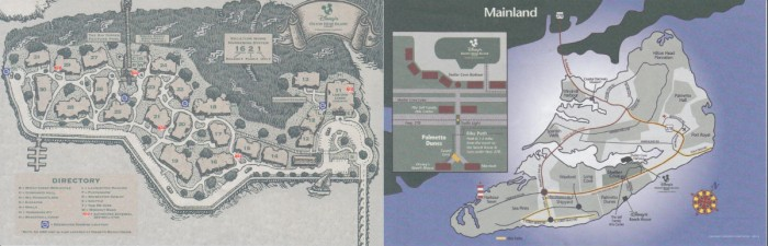Resort and area map for Hilton Head resort. © Disney