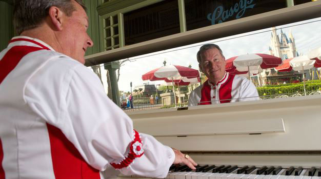 Enjoy live music played by the Casey's Corner Pianist. Photo courtesy of Disney