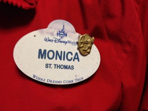 Disney World name tag with service pin