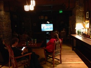 On rainy nights, the movies at the Wilderness Lodge are moved to the lounge in the Villas building