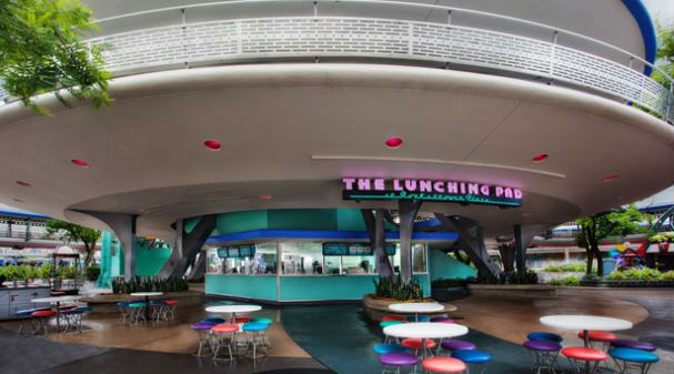The Lunching Pad is in the heart of Tomorrowland and offers a limited variety of hot dogs. Photo courtesy of Disney (c)