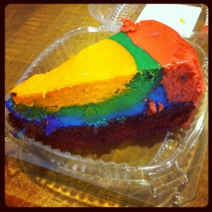 Pop Century's famous tie-dye cheesecake tastes particularly good as a late night meal ending.