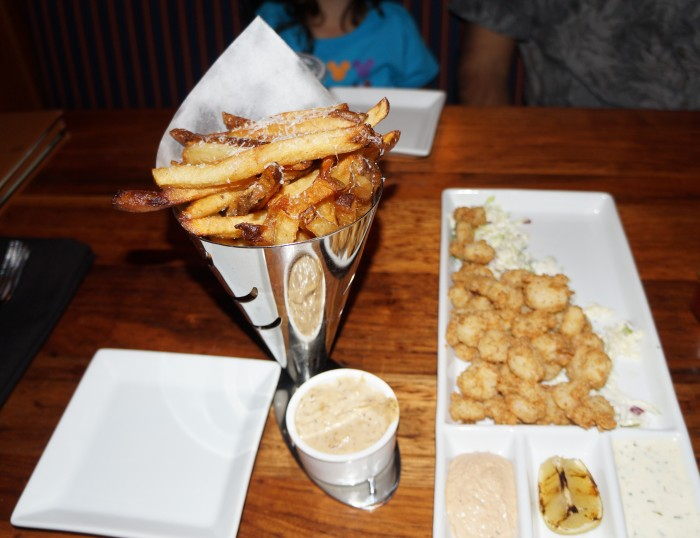 Truffle fries and fried shrimp may not be the healthiest meal, but it sure is tasty! (Photo by Julia Mascardo)