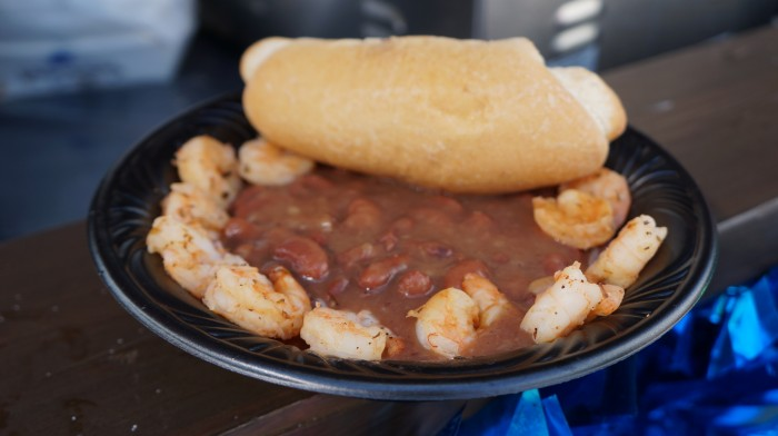 Cajun Shrimp with red beans and rice $10.99 (served with French bread)