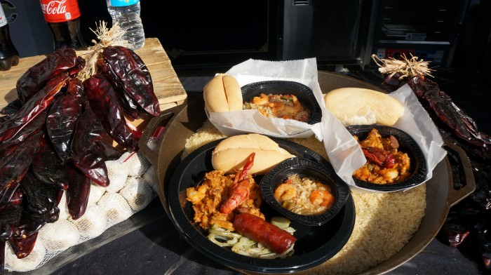 Bottom the picture: Cajun Sampler $11.99 with gumbo, jambalaya, and Andouille sausage