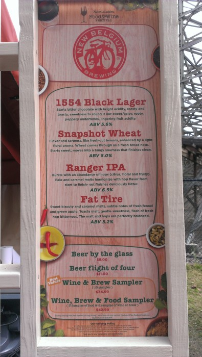 A menu of just a few of the drinks available at Busch Gardens Food and Wine Festival