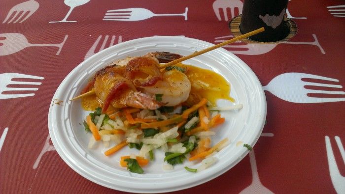 Bacon wrapped prawns with a jicama cilantro slaw served up at the Busch Gardens Food and Wine Festival