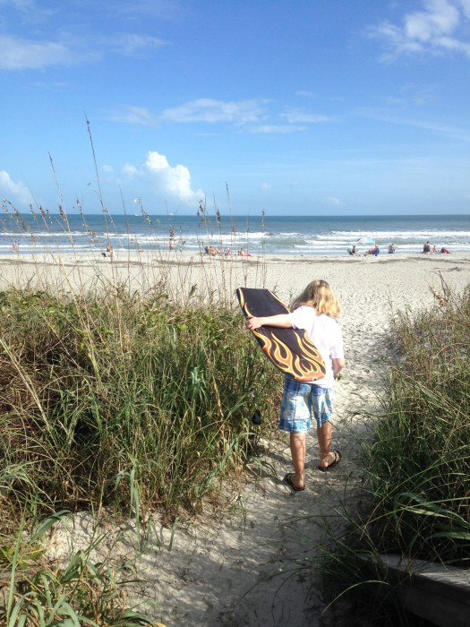 Heading out for some light boogie-boarding at Osceola Lane in Cocoa Beach.