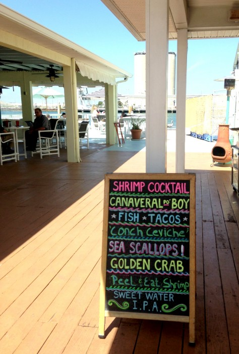 Waterfront dining at The Cove in Port Canaveral, with something for everyone.