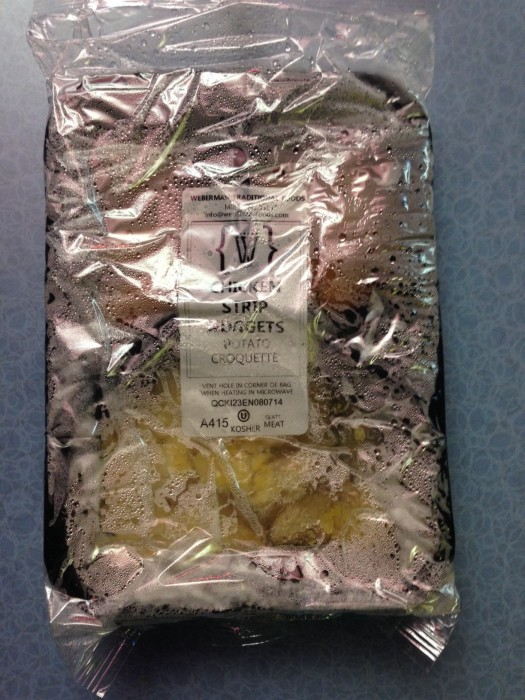 A packaged kosher meal comes out of the microwave fully sealed. (Photo by Julia Mascardo)
