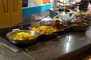 Breakfast foods, such as a couple of frittatas, are a good portion of the brunch offerings as well. (Photo by Julia Mascardo)