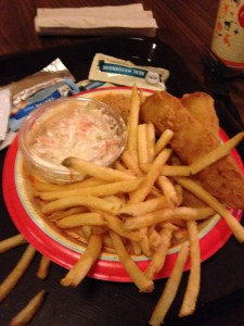 Chicken breast nuggets and Fish with coleslaw and fries