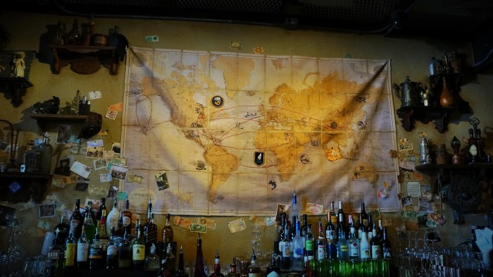 Map behind inside bar that shows the many travels of Indiana Jones throughout the trilogy