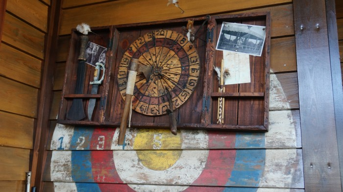 Adventurous dart board found alongside the outdoor bar