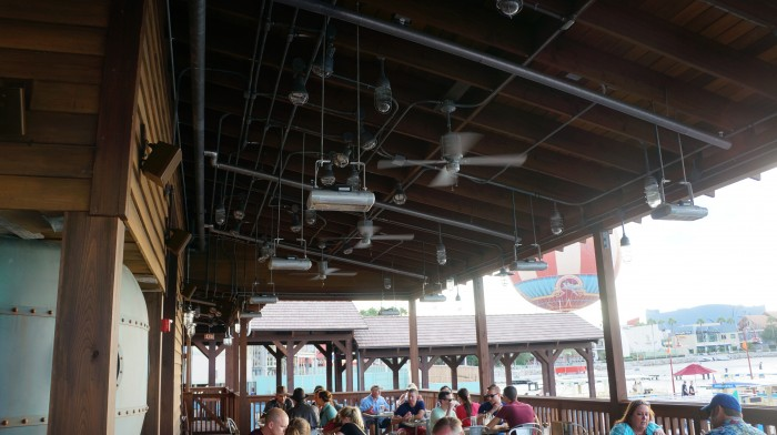 The back porch is suitable for nearly all weather with ceiling fans and heaters