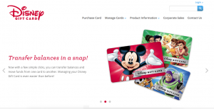 Screenshot of DisneyGiftCard.com
